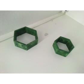 2  Étagère style hexagonale en bois vert