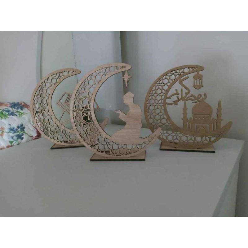 Pac - Décoration ramadan en bois  3 style